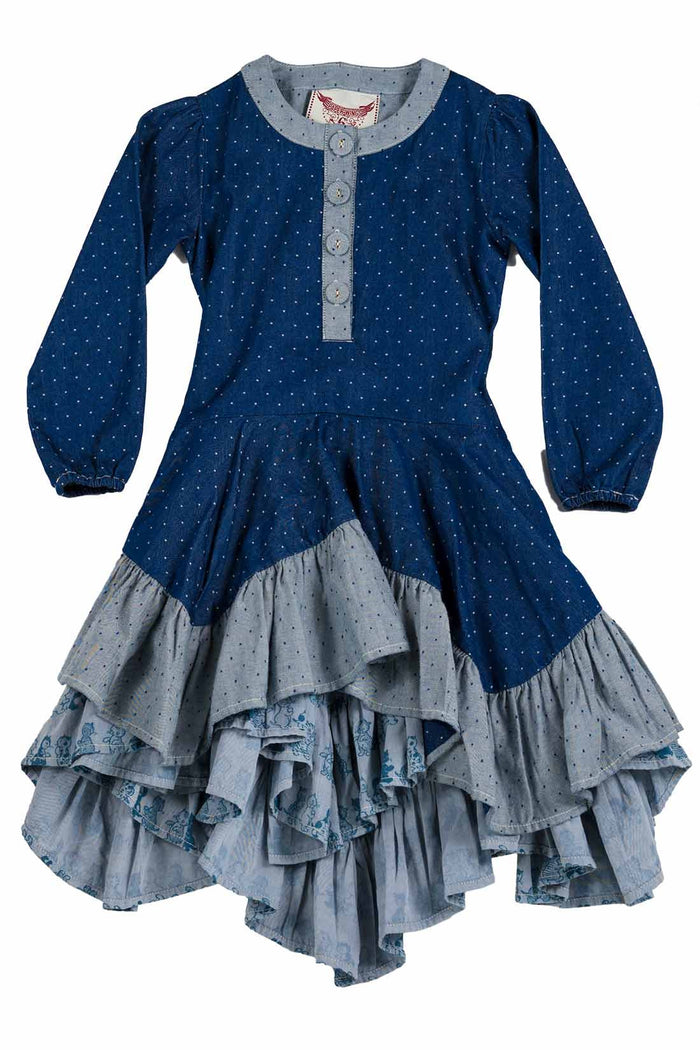 Ruffle Dress - Kitten Stripe (Indigo)