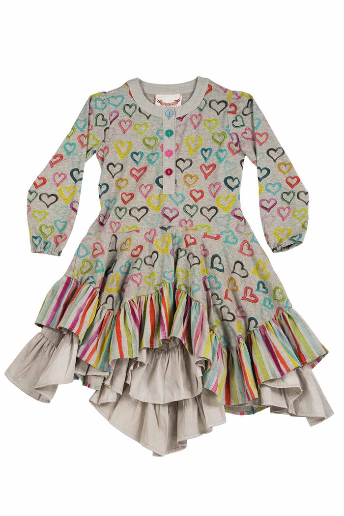Ruffle Dress - Coloured Hearts (Grey Marle/Multi Colour)
