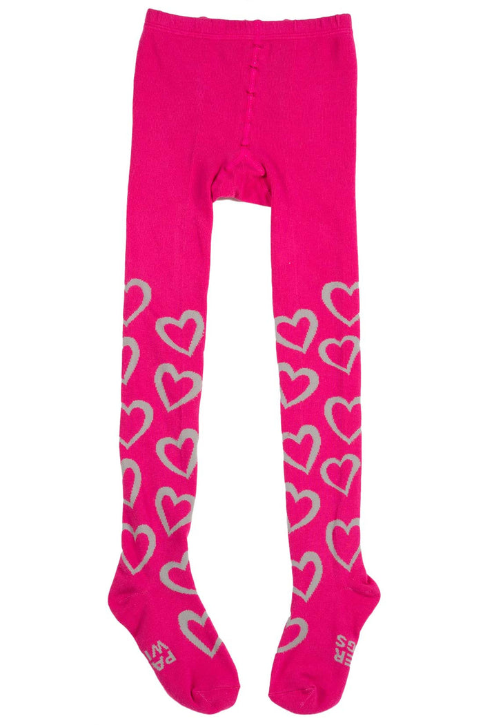 Tights - Hearts (Pink/Grey)