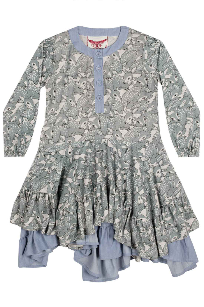 Paper Wings Frilled Dress - Grey Fawns