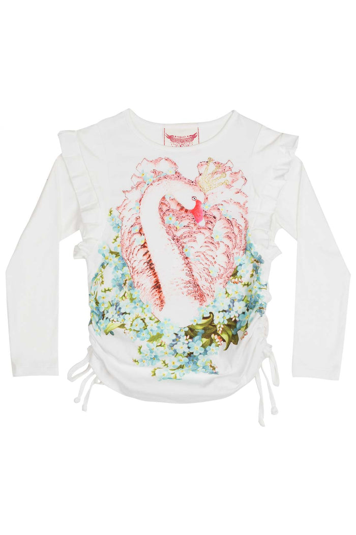 Paper Wings Drawstring T shirt with Frills - Swan Lake