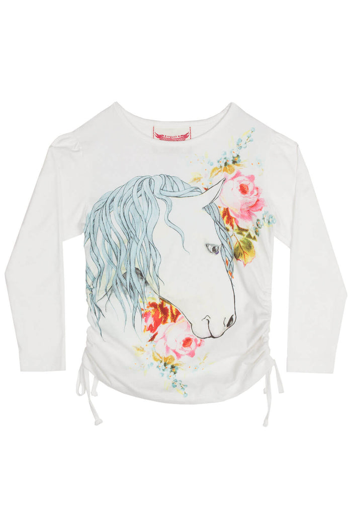 Paper Wings Drawstring T shirt - Rose Horse