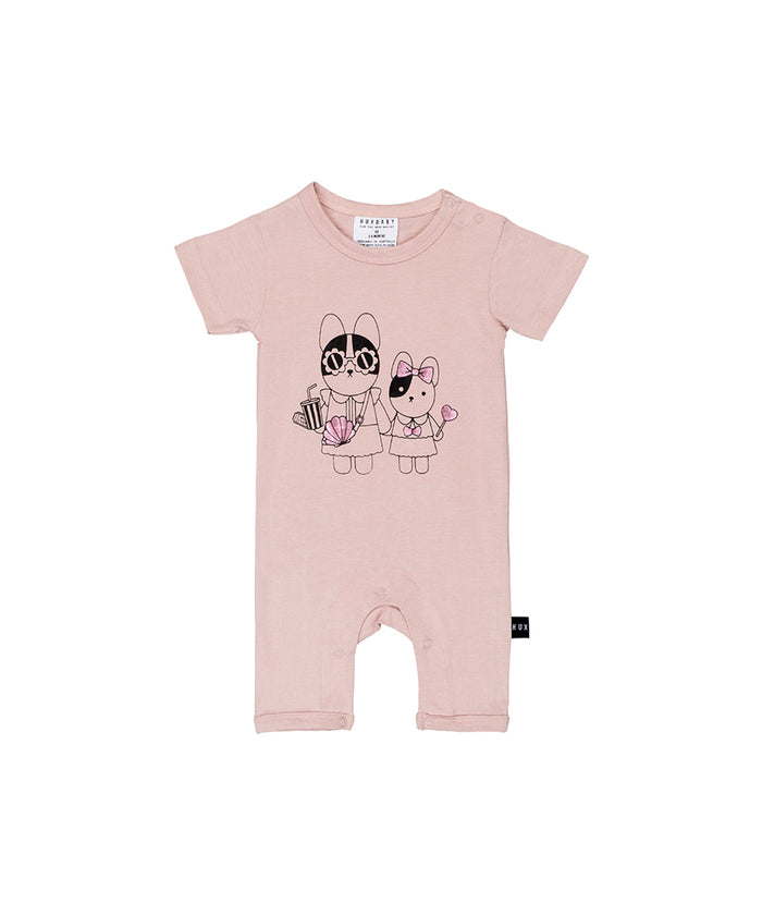 Huxbaby Hey Sister Short Romper (Rose Dust)