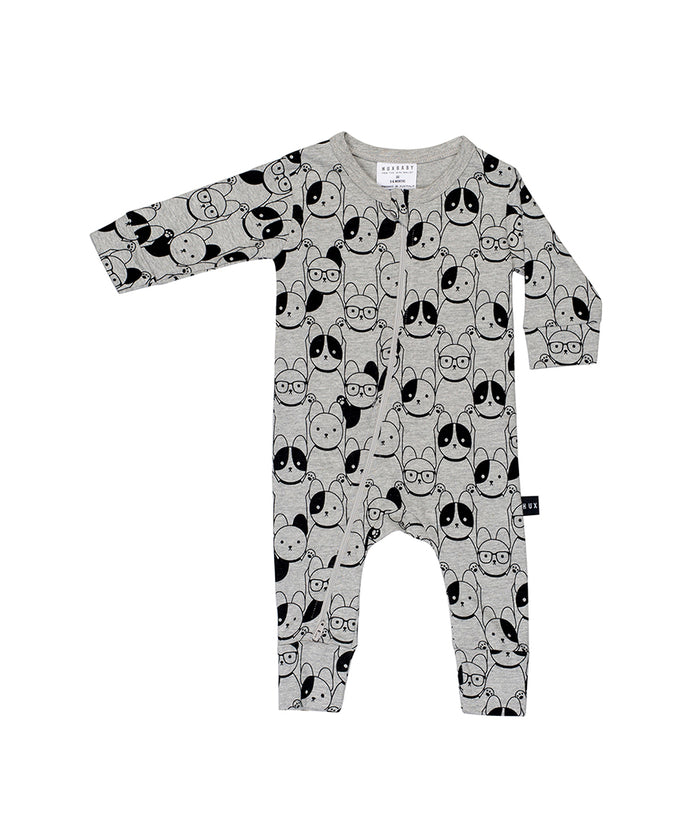 Huxbaby Puppy Love Zip Romper (Charcoal Slub)