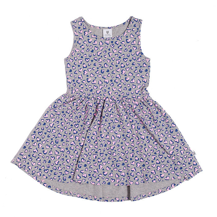 Hootkid Go Low Dress (Grey Marle Ditsy)