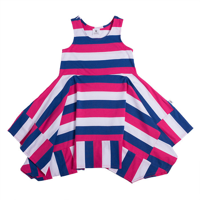 Hootkid The Holiday Dress (Cobalt/Hot Pink/White Stripe)
