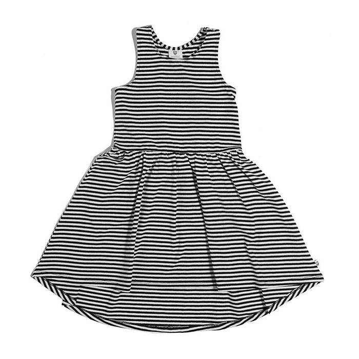 Hootkid Racing Dress (Black/White Mini Stripe)