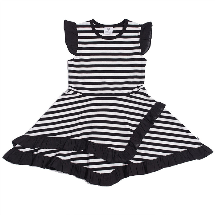 Hootkid Dorothy Frill Hem Dress (Black/White Stripe)