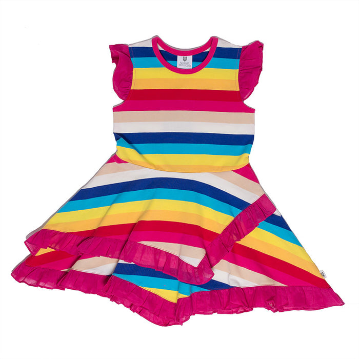 Hootkid Dorothy Frill Hem Dress (Candy Stripe)