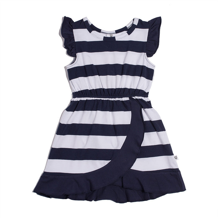 Hootkid The Hamptons Dress (Navy Stripe)