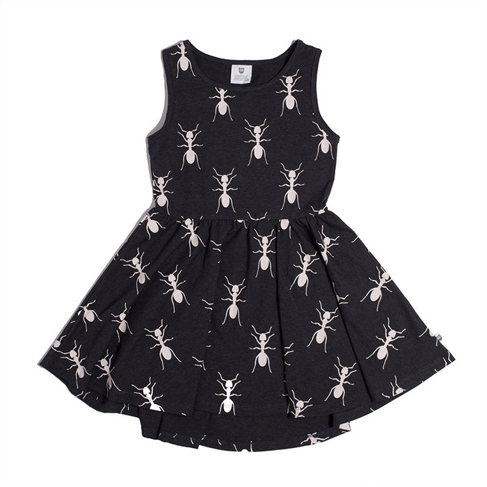Hootkid Day Of The Ants Dress (Black Marle)