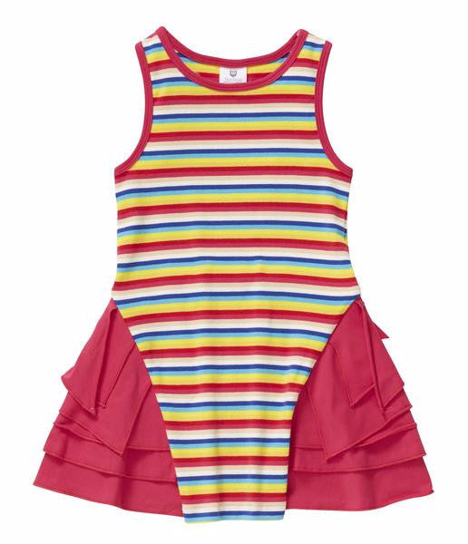Hootkid Look Up Dress - Rainbow Mini Stripe