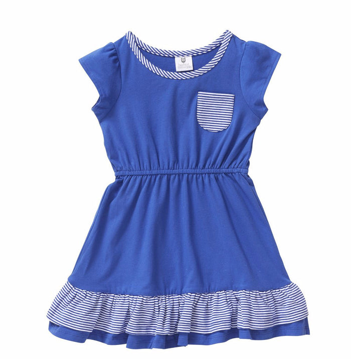 Hootkid Saloon Dress - Cobalt Mini Stripe