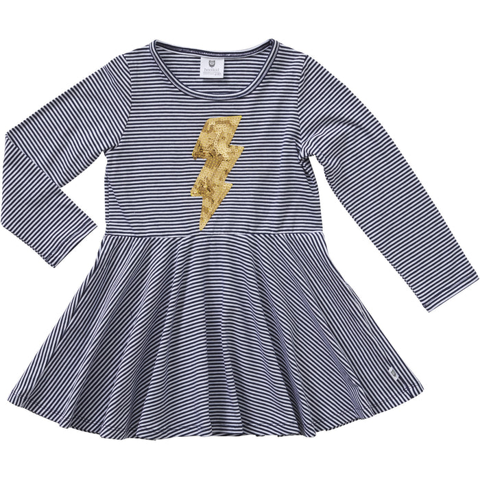 Hootkid Electric Sequins Dress (Navy/White Mini Stripe)