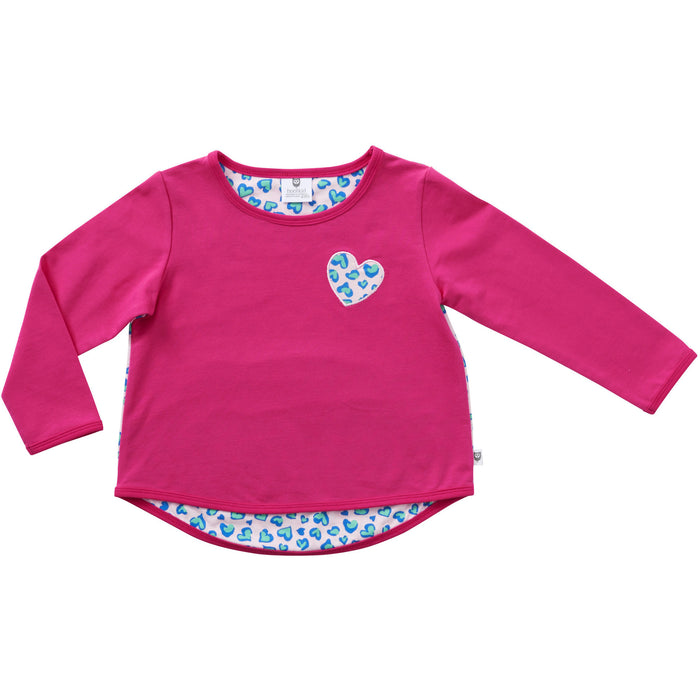 Hootkid Ditsy Heart Sweater (Hot Pink)