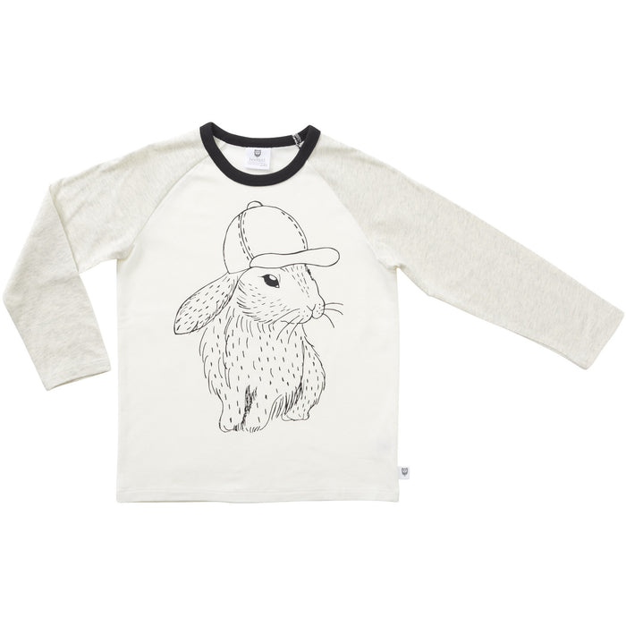 Hootkid Hip Hop Bunny Tee (Warm White/ Light Grey Marle)