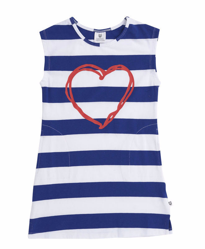 Hootkid Girlfriend Dress - Cobalt/White Stripe