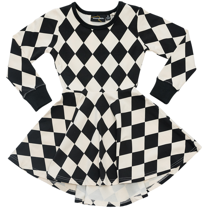 RYB Harlequin Waisted Dress (B/W)