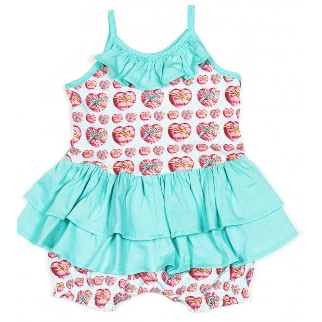 Little Wings Romper with Frills - Heart Bows