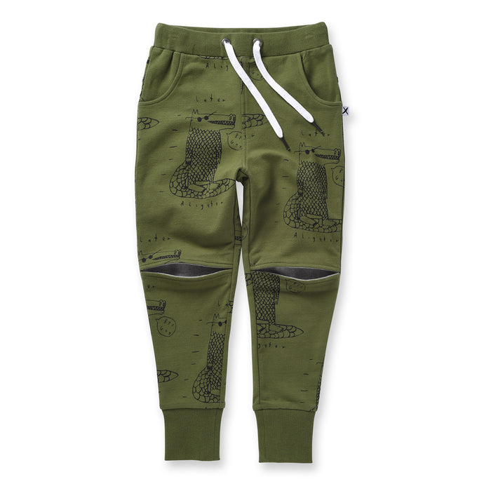 Minti Later Alligator Hidden Knee Trackies (Army)