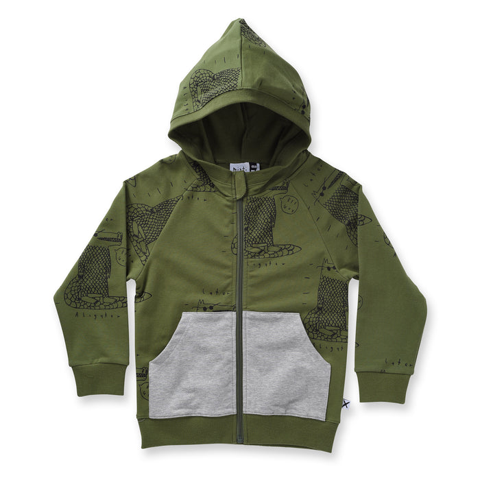 Minti Later Alligator Furry Zip Up (Army)