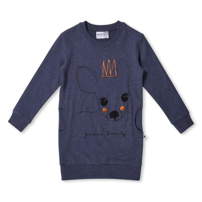 Minti Lovely Deer Crew Dress (Midnight Marle)