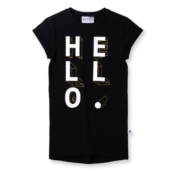 Minti Hello Shapes Rolled Up Tee Dress (Black)