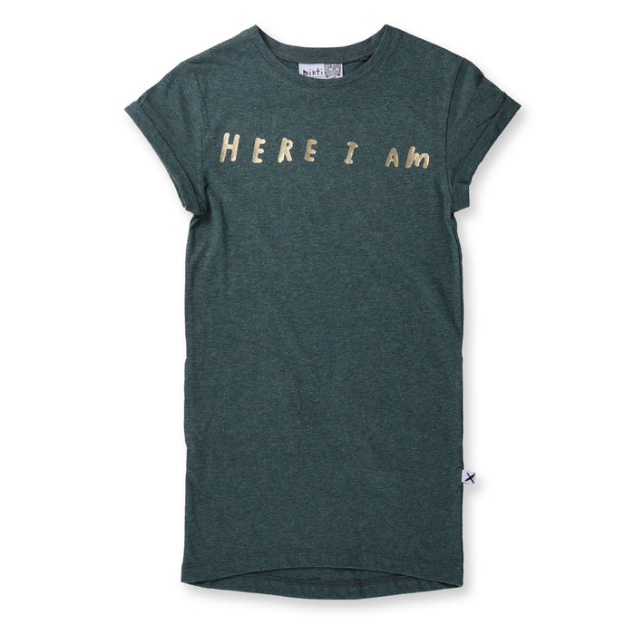 Minti Here I Am Rolled Up Tee Dress (Green Marle)