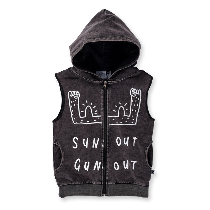 Minti Suns Out Sleeveless Zip Up (Black Wash)