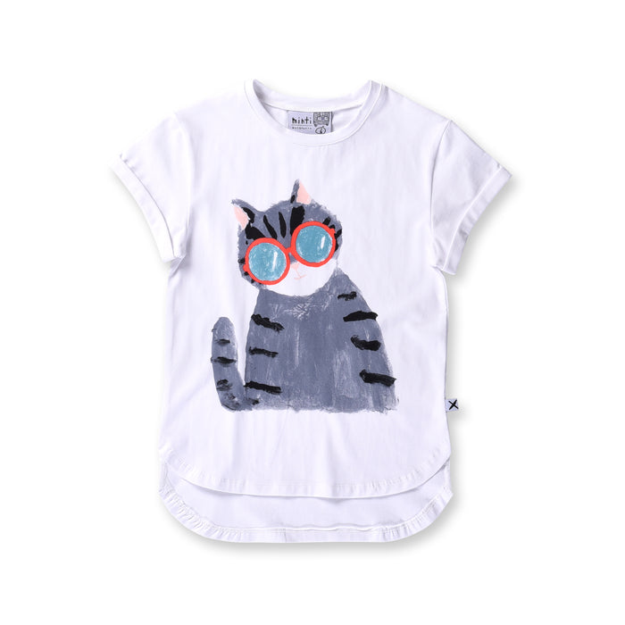 Minti Painted Cat Drop Tee (White)