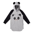 Minti Lovable Panda Furry Hoodie Dress (Grey Marle/Black)