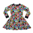 Rock Your Kid Retro Badges LS Waisted Dress