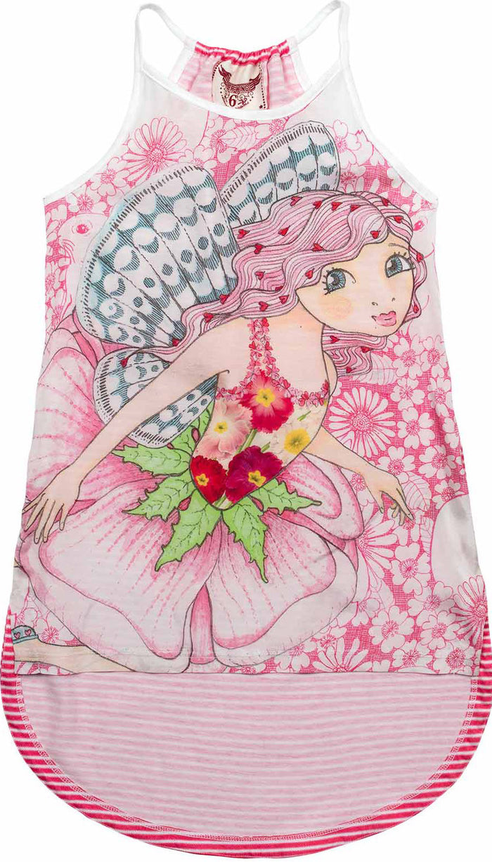 Paper Wings Racer Back Singlet Dress - Pink Fairy