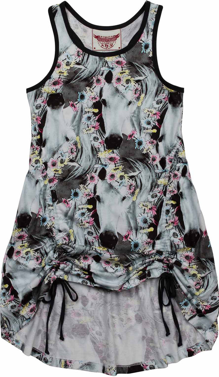 Paper Wings Drawstring Singlet Dress - Daisy Horse Repeat