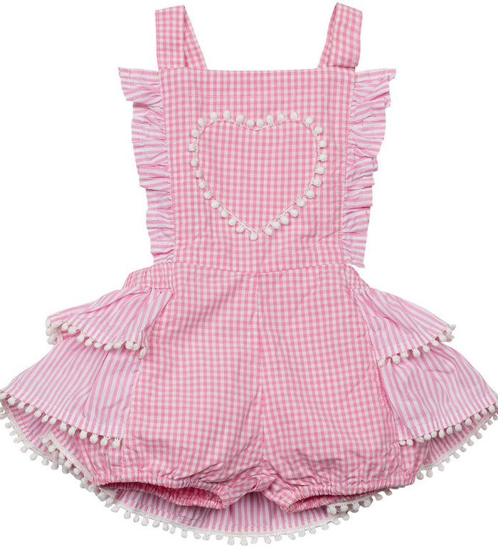 Little Wings Frilled Gingham Overalls