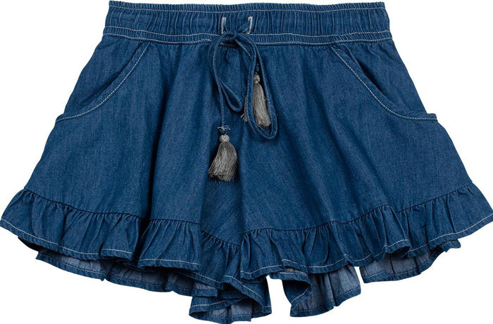 Paper Wings Frilled Shorts (Faded Indigo)