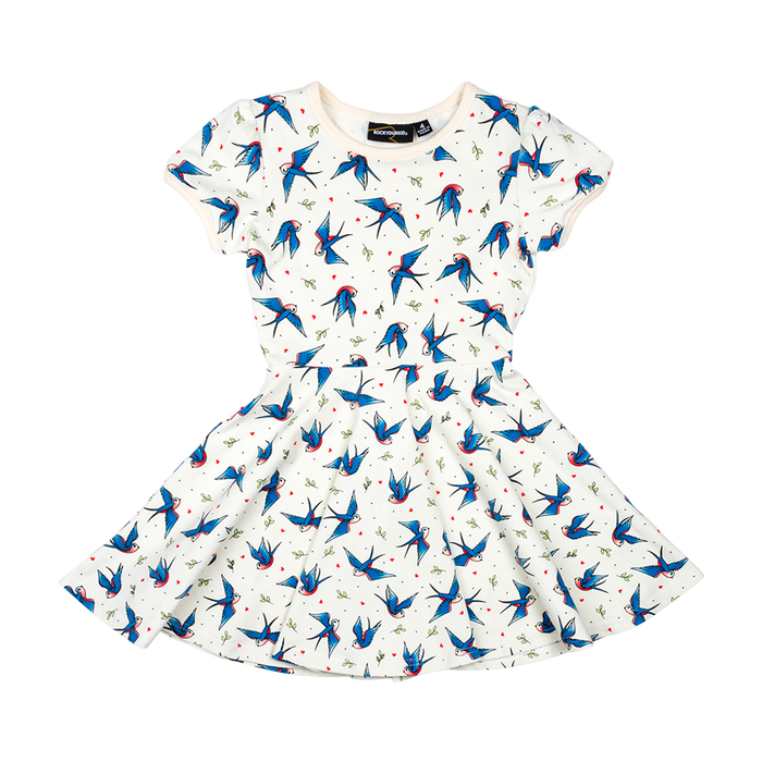 RYK Blue Birds Waisted Dress
