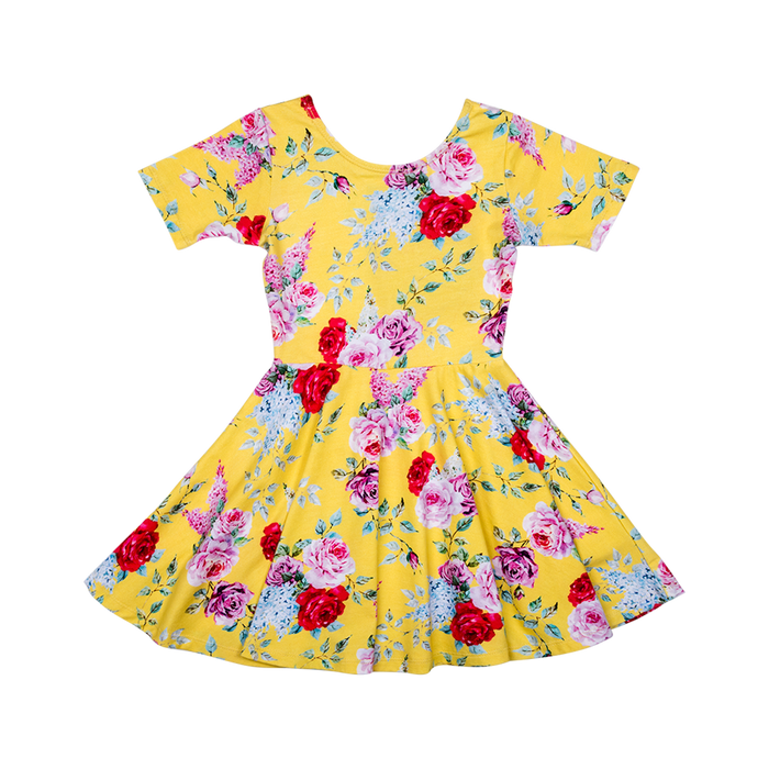 RYK Yellow Floral Waisted Dress