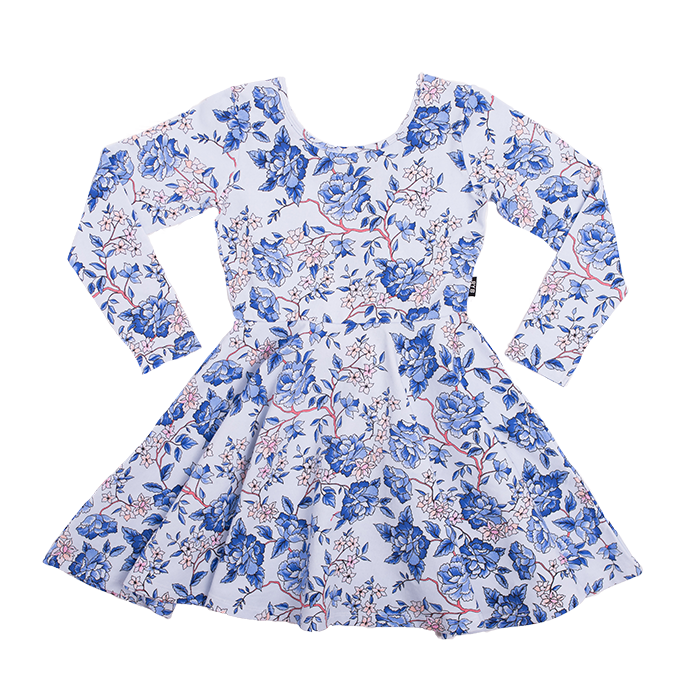 Rock Your Kid Oriental Floral LS Mabel Dress