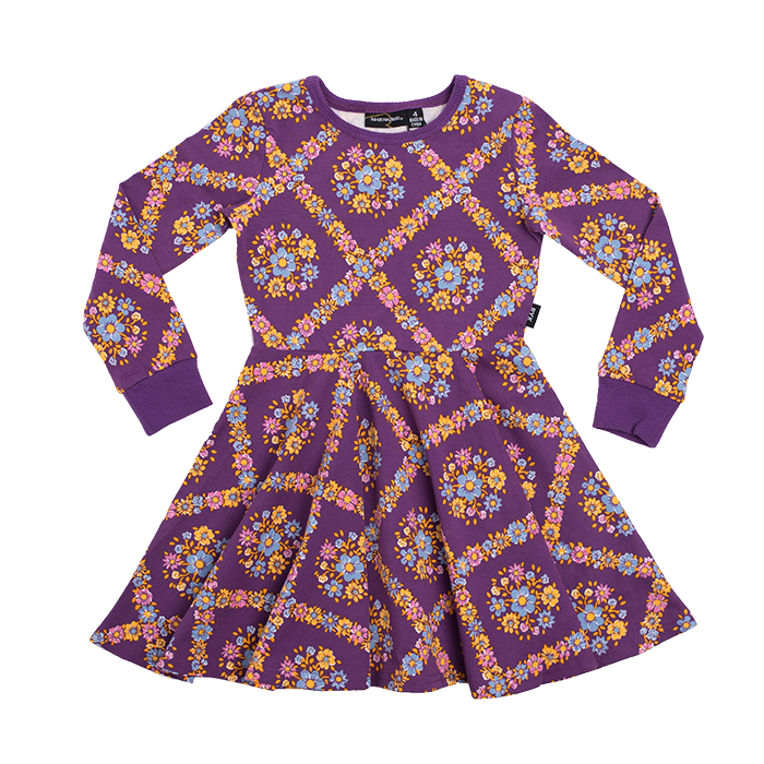 Rock Your Kid Purple Haze LS Waisted Dress