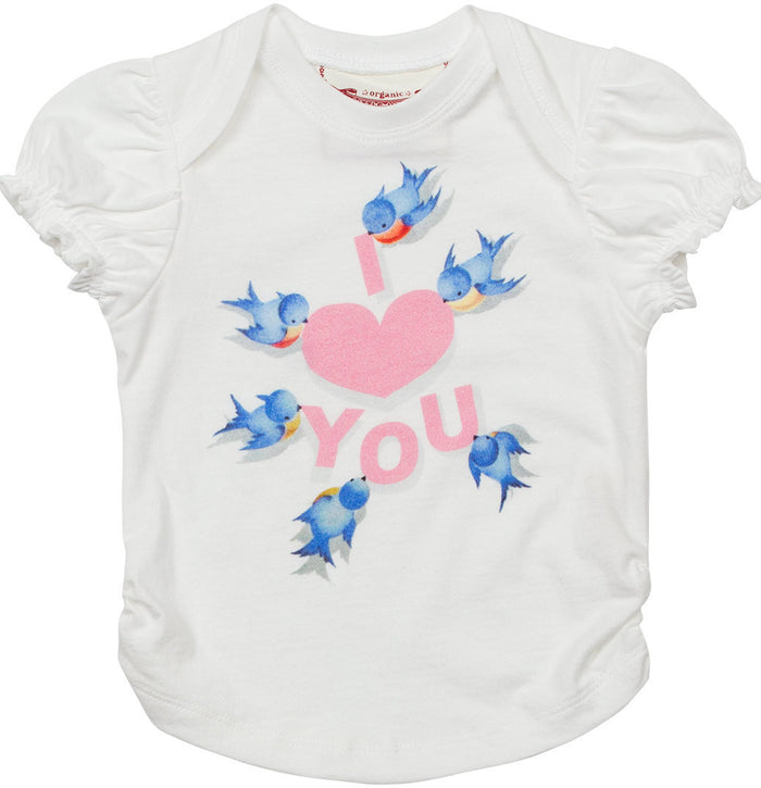 Little Wings Puff Sleeve Tee - I Love You