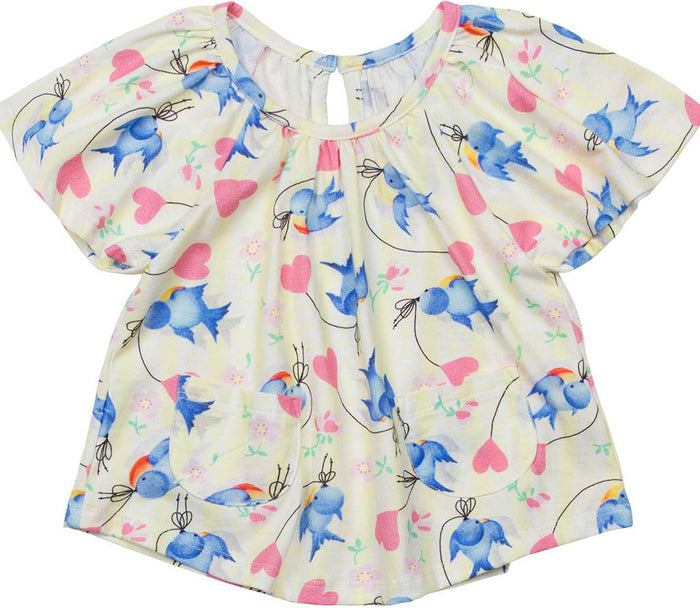 LIttle Wings Smock Tee - Bluebirds