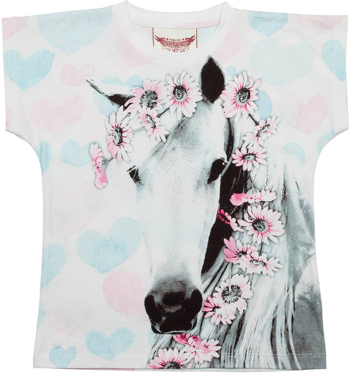 Paper Wings Simple Tee - Daisy Horse