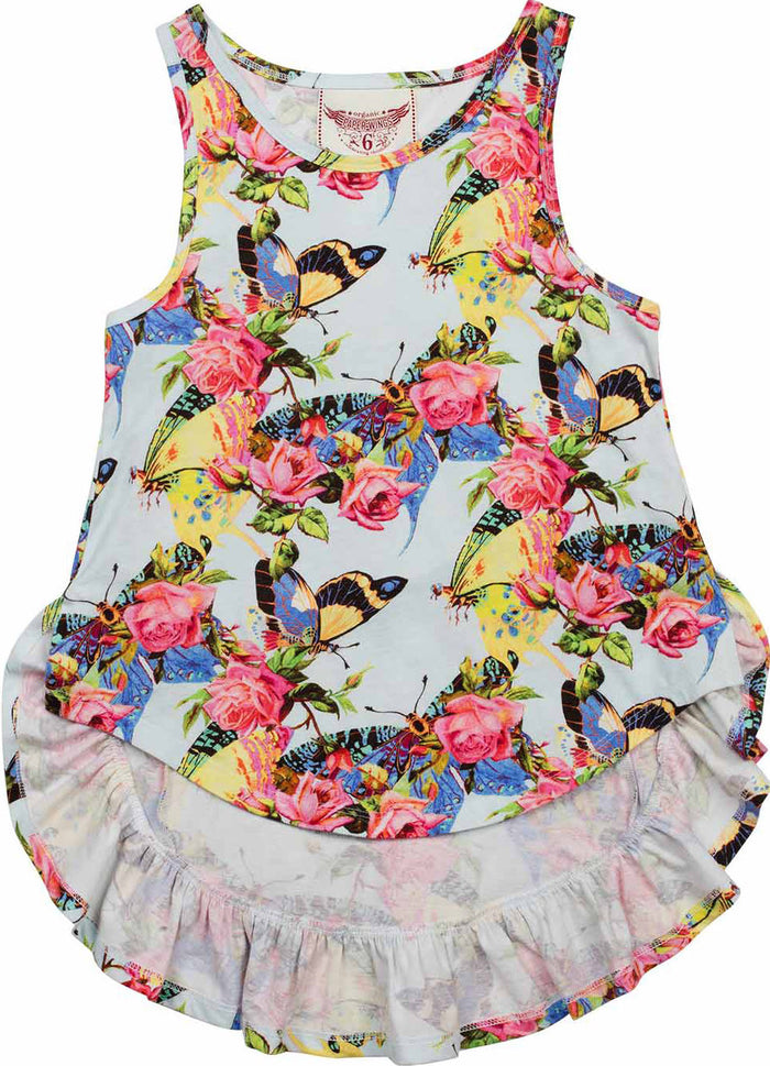 Paper Wings Bustle Singlet - Butterflies and Roses