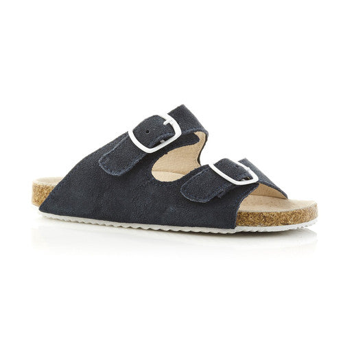 Walnut Bailey Slide (Navy Suede)