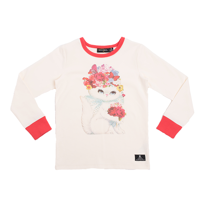 Rock Your Kid Floral Cat LS T-Shirt