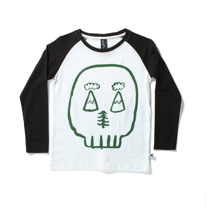 Minti Outdoor Skull - LS Raglan Tee (White Black)