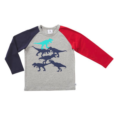 Hootkid Stacked Dino Tee (Grey Marle)