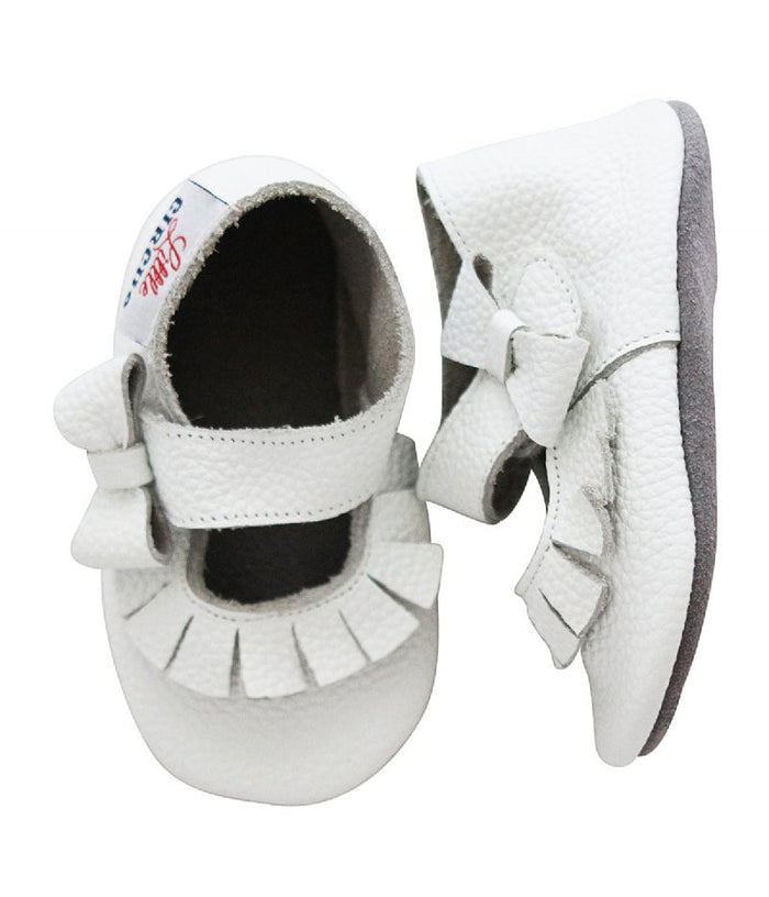 Little Circus Bow & Tassel Mary Janes (White)