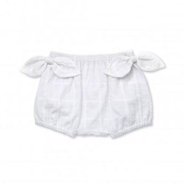 Walnut Marley Bow Bloomer (White Swiss Dot)